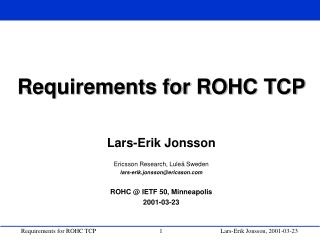 Requirements for ROHC TCP
