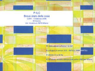 P-ILC Breve stato delle cose CSN1 - 6 febbraio 2006 M.Caccia Uni. Insubria & INFN Milano