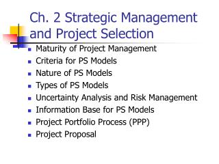 Ch. 2 Strategic Management and Project Selection