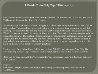 lifestyle cruise ship tops 2500 capacity