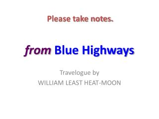 from  Blue Highways