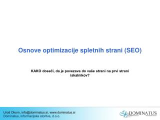 Osnove optimizacije spletnih strani (SEO)