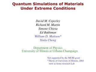 Quantum Simulations of Materials Under Extreme Conditions