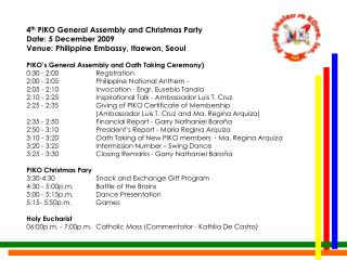 4th PiKO General Assembly and Christmas Party Programme