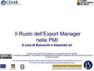 Il Ruolo dell'Export Manager nelle PMI A cura di Bonucchi e Associati srl