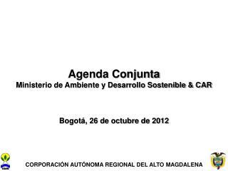 Agenda Conjunta Ministerio de Ambiente y Desarrollo Sostenible & CAR Bogotá, 26 de octubre de 2012