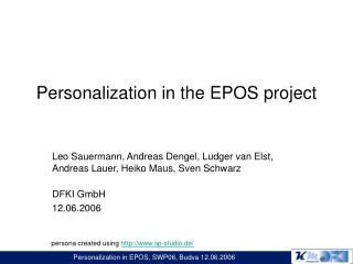 Personalization in the EPOS project