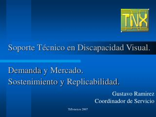 Soporte Técnico en Discapacidad Visual. Demanda y Mercado . Sostenimiento y Replicabilidad .