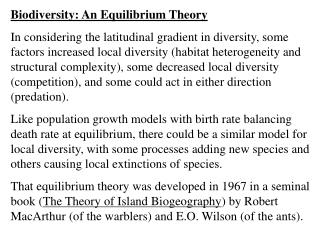 Biodiversity: An Equilibrium Theory