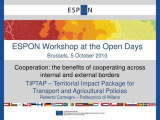 ESPON Workshop at the Open Days Brussels, 5 October 2010