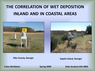 the correlation of wet deposition inland and in coastal areas