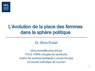 L'évolution de la place des femmes dans la sphère politique