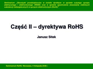 Część II – dyrektywa RoHS