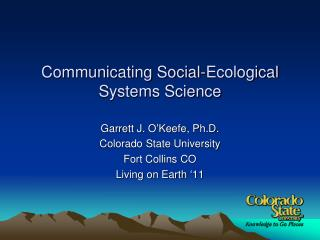 Communicating Social-Ecological Systems Science