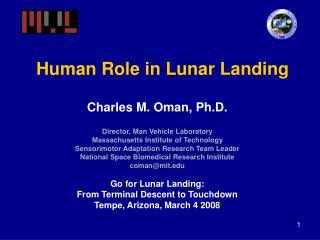 Human Role in Lunar Landing