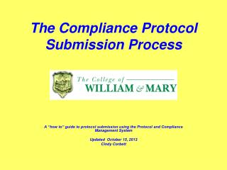 The Compliance Protocol Submission Process