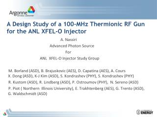 A Design Study of a 100-MHz Thermionic RF Gun for the ANL XFEL-O Injector