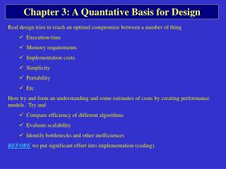 Chapter 3: A Quantative Basis for Design