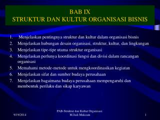 BAB IX STRUKTUR DAN KULTUR ORGANISASI BISNIS