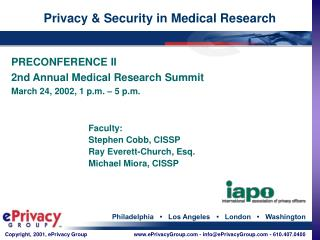 Privacy & Security in Medical Research