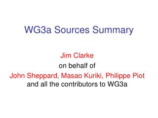 WG3a Sources Summary