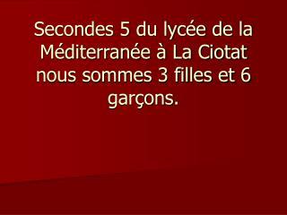 Secondes 5 du lycée de la Méditerranée à La Ciotat nous sommes 3 filles et 6 garçons.