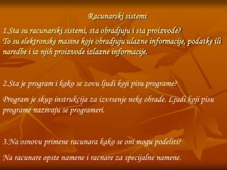 Racunarski sistemi