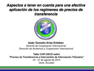 """Taller CIAT-OECD sobre """"Precios de Transferencia e Intercambio de Información Tributaria"""""""