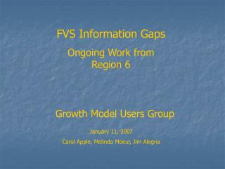 Growth Model Users Group