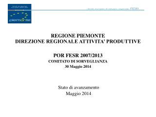 REGIONE PIEMONTE DIREZIONE REGIONALE ATTIVITA' PRODUTTIVE POR FESR 2007/2013