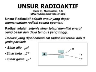 UNSUR RADIOAKTIF Oleh:  M. Nurissalam, S.Si SMA Muhammadiyah I Metro