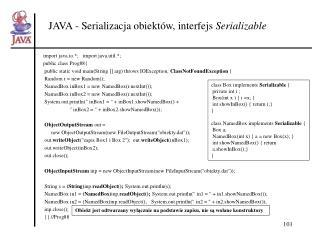 JAVA - Serializacja obiektów, interfejs  Serializable