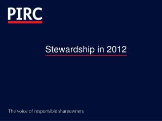 Stewardship in 2012