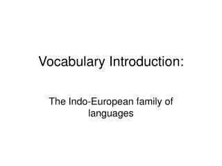 Vocabulary Introduction:
