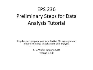 EPS 236 Preliminary Steps for Data Analysis Tutorial