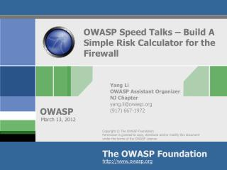 OWASP Speed Talks – Build A Simple Risk Calculator for the Firewall