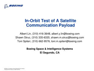 In-Orbit Test of A Satellite Communication Payload