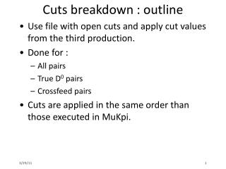 Cuts breakdown : outline