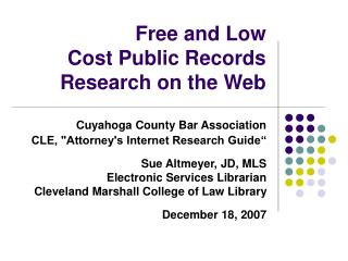 Free and Low Cost Public Records Research on the Web