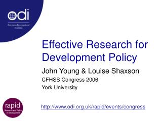 Effective Research for Development Policy