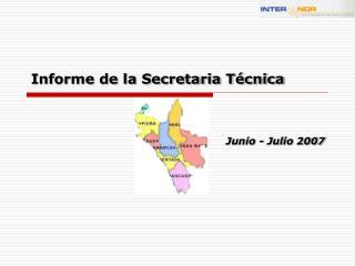 Informe de la Secretaria Técnica