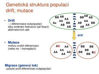 Genetická struktura populací drift, mutace