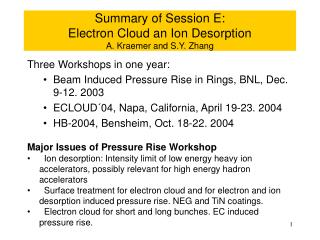 Summary of Session E:  Electron Cloud an Ion Desorption A. Kraemer and S.Y. Zhang
