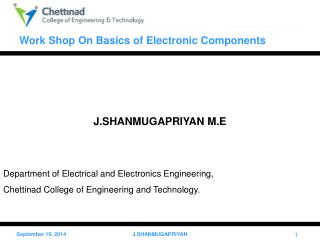 J.SHANMUGAPRIYAN M.E Department of Electrical and Electronics Engineering,