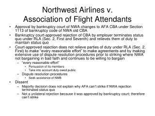 Northwest Airlines v. Association of Flight Attendants