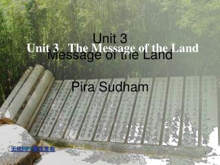 Unit 3   The Message of the Land
