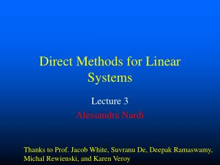 Direct Methods for Linear Systems