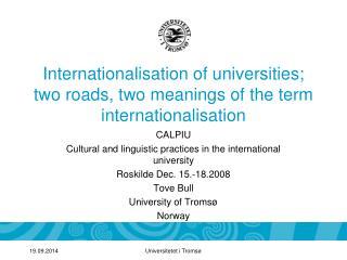 Internationalisation of universities; two roads, two meanings of the term internationalisation