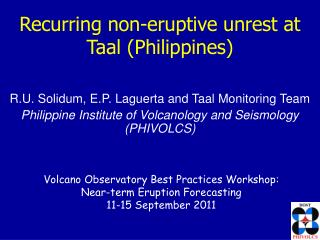 Recurring non-eruptive unrest at Taal (Philippines)