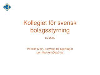 Kollegiet för svensk bolagsstyrning